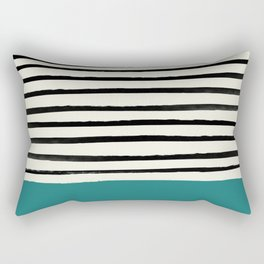 Teal x Stripes Rectangular Pillow