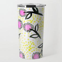 Pink flowers and green dots Pattern Travel Mug