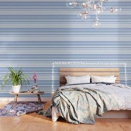 Scandi Pastel Cornflower Stripes Wallpaper