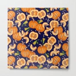Pumpkin night life Pattern Metal Print