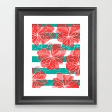 Camelia Coral and Turquoise Framed Art Print
