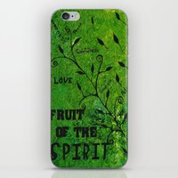 religious iPhone & iPod Skins featuring Faith Religious Art---Fruit of the Spirit---Bible Scripture Galations 5:22 by Saribelle rodriguez by Saribelle Inspirational Art
