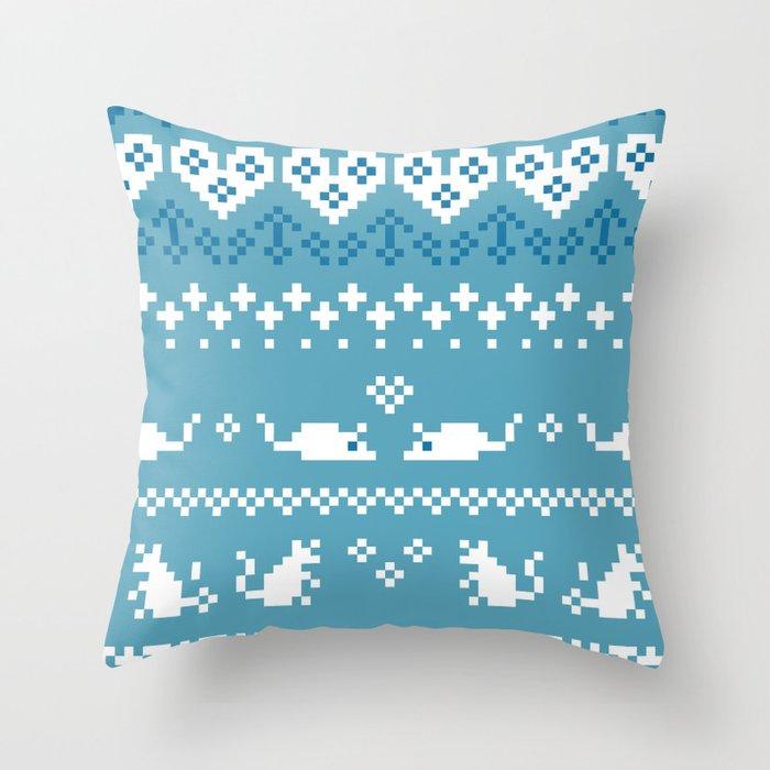 Pixel Rats Blue Throw Pillow