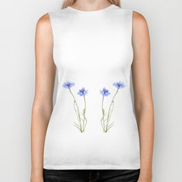 Two blue cornflower flowers isolated on white Biker Tank