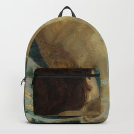 Backlite Nude Figure Oil painting Turquoise of Woman Backpack