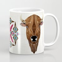 bison Mugs featuring bison by Manoou