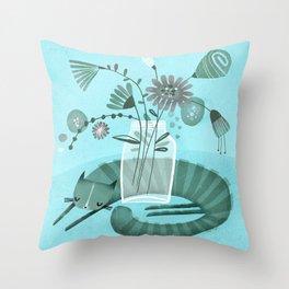 MASON JAR CAT Throw Pillow