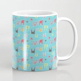 Colorful bunnies on blue background Coffee Mug