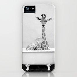 Skeptic Giraffe in Bath BW iPhone Case