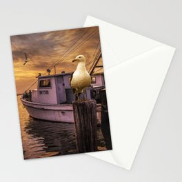 Fishing Boat and Gulls at Sunrise in Aransas Pass Harbor Stationery Cards