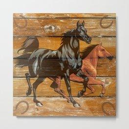 Horses Horseshoes Barn Wood Cowboy Metal Print