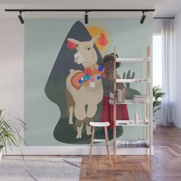 Llama and girl Wall Mural