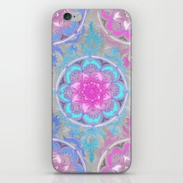 Pink, Purple and Turquoise Super Boho Doodle Medallions iPhone Skin