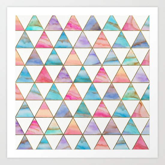 Marble Triangles Pattern Art Print