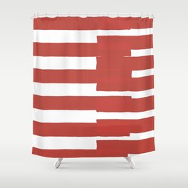 Big Stripes In Red Shower Curtain