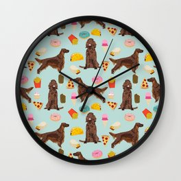 Irish Setter junk food pizza donuts dog breed cute custom pet portrait for dog lovers Wall Clock