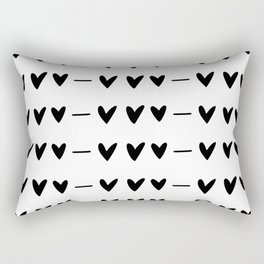 White and black doodle hearts and dashes pattern Rectangular Pillow