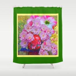 PINK GARDEN FLORALS IN RED VASE GREEN FRAME Shower Curtain