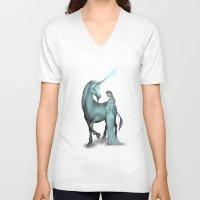 unicorn V-neck T-shirts featuring Unicorn by Egberto Fuentes