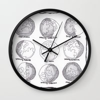 moon phases Wall Clocks featuring Moon Phases by artworkbyemilie