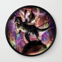 Evil Space Laser Cat On Dinosaur Unicorn On Taco Wall Clock