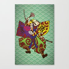 Samurai with vintage japan painting style Canvas Print