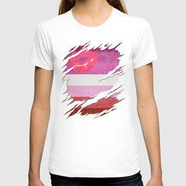 Lipstick Lesbian Pride Flag Ripped Reveal T-shirt