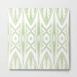 Velvety Tribal Shield in Lime Green Metal Print