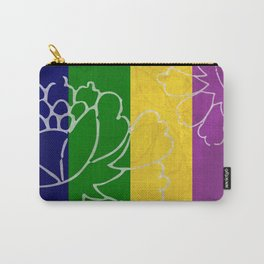 Chinese Flowers & Stripes - Purple Yellow Green Blue Carry-All Pouch