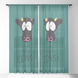 Go Cows Poster Sheer Curtain