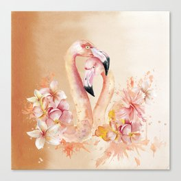 Tropical Birds- Flamingo In LOVE with exotic flowers Canvas Print