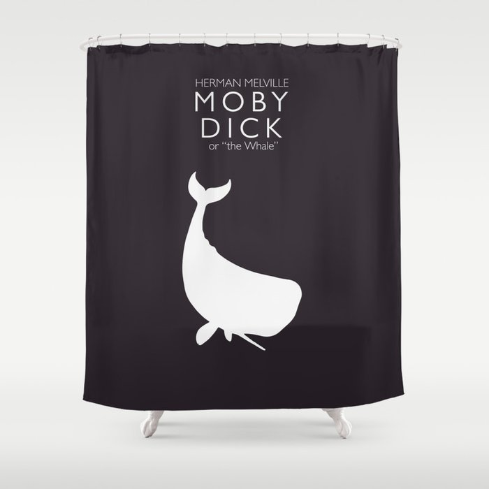 Moby Dick Herman Melville Minimal Book Cover Classic Novel The Whale Sea Adventures Shower Curtain By Stefanoreves