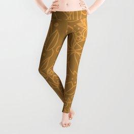 Earthy Natural Organic Pattern - Cinnamon & gold colors Leggings