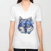indigo V-neck T-shirts featuring Indigo Wolf by Abby Diamond