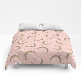 Gold Glitter Crescent Moon + Stars in Peach Comforters
