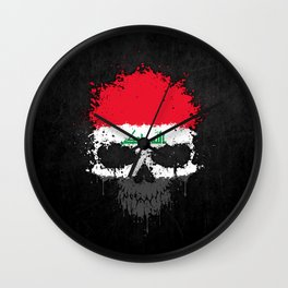 Flag of Iraq on a Chaotic Splatter Skull Wall Clock