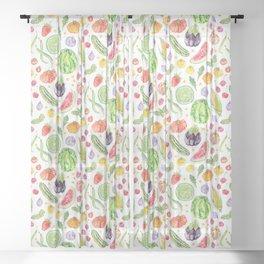 Summer Harvest Pattern White Sheer Curtain