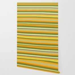 Yellow, Green, Orange Stripes Wallpaper