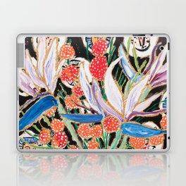 Lions and Tigers Dark Floral Still Life Painting Laptop & iPad Skin