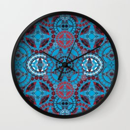 Deep Coral and Blue Mega Mandala Wall Clock