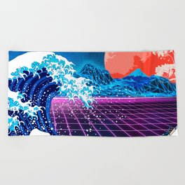 Synthwave Space: The Great Wave off Kanagawa #3 Beach Towel