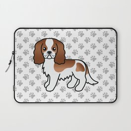 Cute Blenheim Cavalier King Charles Spaniel Dog Cartoon Illustration Laptop Sleeve