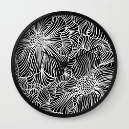 Flowers all over black Wall Clock