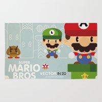 mario bros Area & Throw Rugs featuring mario bros 2 fan art by danvinci