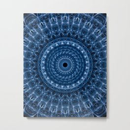 Detailed mandala in dark and light blue tones Metal Print