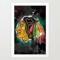 blackhawks Art Prints featuring chicago blackhawks hockey by abstract sports