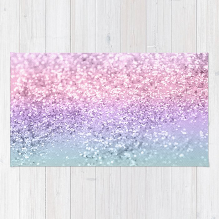 Unicorn Girls Glitter 1 Shiny Pastel Decor Art Society6 Rug By
