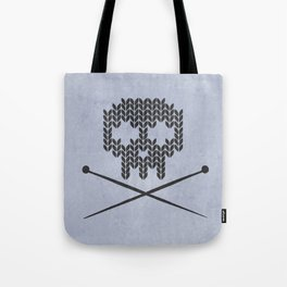 Knitted Skull (Black on Faded Periwinkle) Tote Bag
