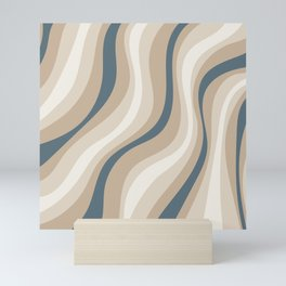 Pastel Blue and Coffee Stripes Mini Art Print
