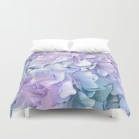 ruben Duvet Covers featuring Soft Pastel Hydrangea by Judy Palkimas